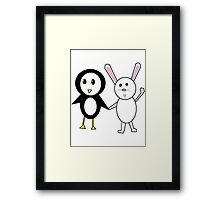 Bunny and Penguin Framed Print