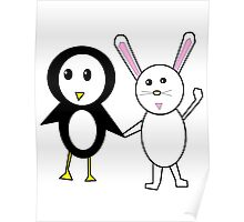 Bunny and Penguin Poster
