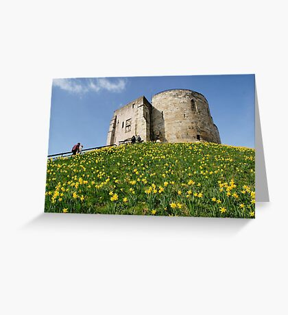 Cliffords Tower daffodils Greeting Card