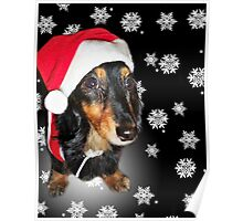 Merry Christmas Dachshund Poster