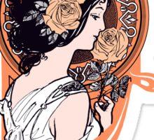 Orange art nouveau flower girl Sticker