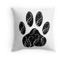 Dog Paw Print With Flourishes Throw Pillow