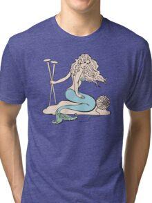 Tattoo mermaid yarn knitting needles Tri-blend T-Shirt