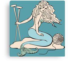 Tattoo mermaid yarn knitting needles Canvas Print