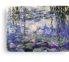 Claude Monet, Waterlily oil on canvas.  Beautiful vintage purple waterlily and big green leaves flowering pond Canvas Print