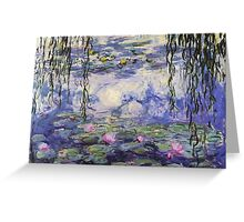 Claude Monet, Waterlily oil on canvas.  Beautiful vintage purple waterlily and big green leaves flowering pond Greeting Card