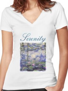 Claude Monet, Waterlily oil on canvas.  Beautiful vintage purple waterlily and big green leaves flowering pond Women's Fitted V-Neck T-Shirt