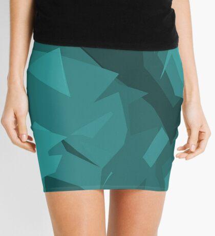 Abstract Silk Flowers Five (aqua) Mini Skirt