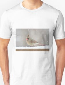 Female cardinal in the snow Unisex T-Shirt