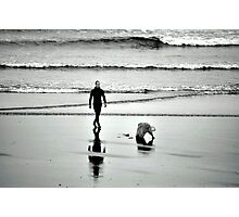 The surfer and the dog Photographic Print