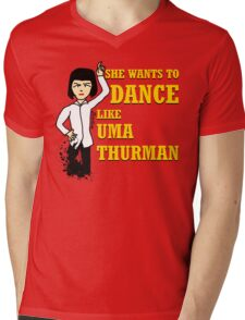 Uma Thurman Mens V-Neck T-Shirt