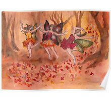 Dancing Fall Fairies Poster