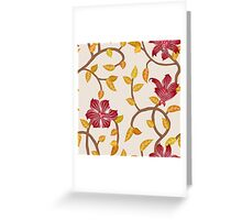 vintage red flower pattern Greeting Card