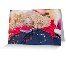 old doll fabric Greeting Card