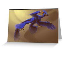 Blue Microraptor Greeting Card