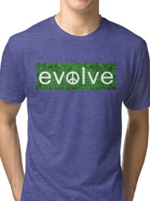 Evolve: Coexist in Peace (green floral version) Tri-blend T-Shirt