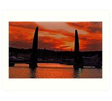 sunset over torquay harbour Art Print