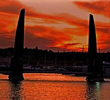 sunset over torquay harbour by JohnHDodds