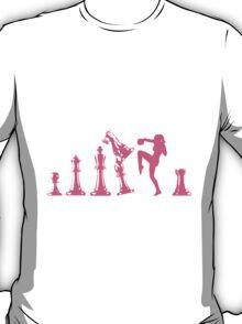Female Kickboxing Knee Pink Chess  T-Shirt
