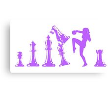Female Kickboxing Knee Purple Chess  Canvas Print