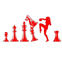 Female Kickboxing Knee Red Chess  Photographic Print