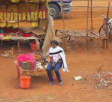 Local woman selling tomatoes on Mombasa Road, KENYA by Atanas Bozhikov Nasko