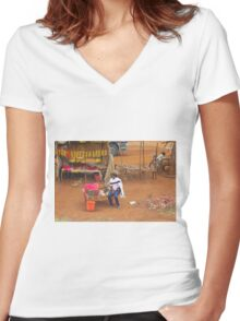 Local woman selling tomatoes on Mombasa Road, KENYA Women's Fitted V-Neck T-Shirt