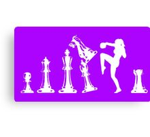 Female Kickboxing Knee White Chess  Canvas Print