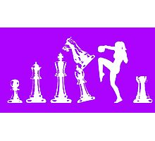 Female Kickboxing Knee White Chess  Photographic Print