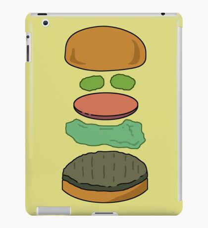 """Deconstructed Burg"" Deconstructed Burger Hamburger Lettuce Tomatoes Foodie Food Humor Silly Funny Pickles Bun iPad Case/Skin"