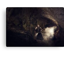 Mystic fantasy girl in a cave Canvas Print