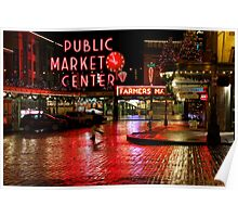 Pikes Place Market at Night Poster