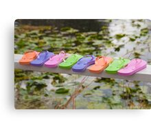"""""""On The Edge"""" - Flip Flops all lined up Canvas Print"""