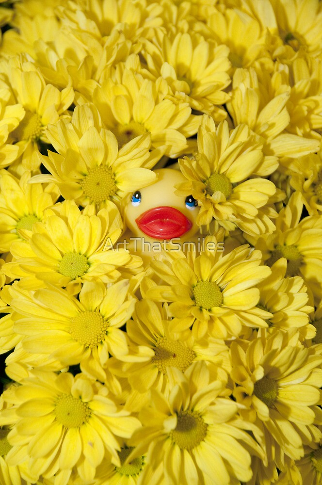 """Mums The Word"" - rubber ducky hiding in the flowers by ArtThatSmiles"