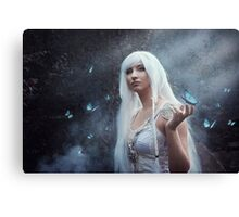 Elven girl with butterfly Canvas Print