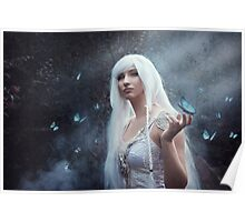Elven girl with butterfly Poster