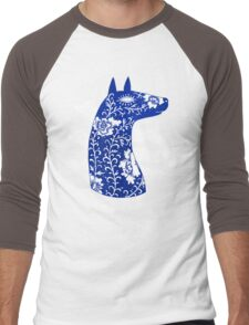 The Water Horse in Blue and White Men's Baseball ¾ T-Shirt