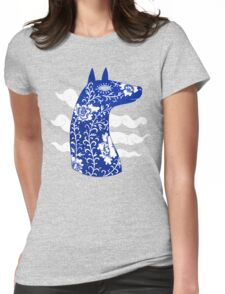 The Water Horse in Blue and White Womens Fitted T-Shirt