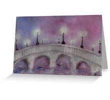 Lamp Post on a Foggy Stone Bridge Greeting Card