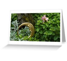 Moon Mirror - Reflection In A Garden Greeting Card