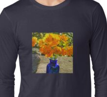 Blue Bottle with Golden Cosmos Long Sleeve T-Shirt