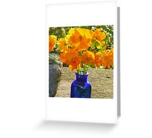 Blue Bottle with Golden Cosmos Greeting Card