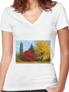 Grampian's Crimson Fire Women's Fitted V-Neck T-Shirt