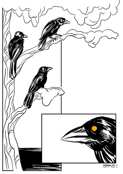 The Three Ravens (page 1) by ah-art