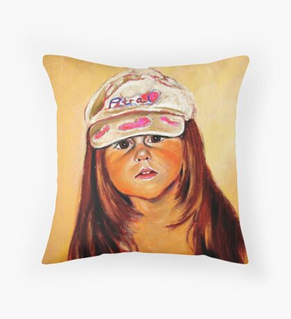 Petra with a hat Throw Pillow