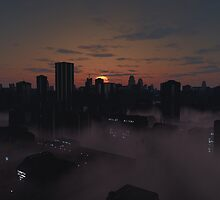 Future City in Misty Sunrise by algoldesigns