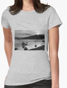 Sunrise over Nissaki - B&W Womens Fitted T-Shirt