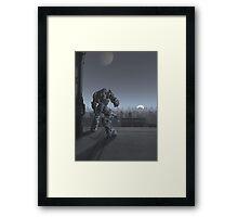 Future City - Robot Sentinel at Moon Rise Framed Print
