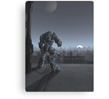 Future City - Robot Sentinel at Moon Rise Canvas Print