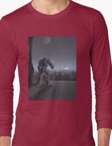 Future City - Robot Sentinel at Moon Rise Long Sleeve T-Shirt